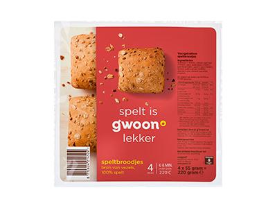 g'woon spelt broodjes 4 stuks