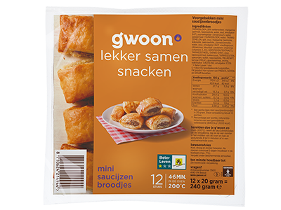 g'woon mini saucijzenbroodjes 12 stuks