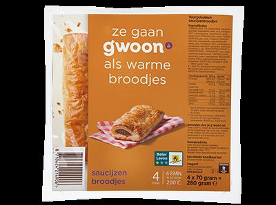 g'woon saucijzenbroodjes 4 stuks