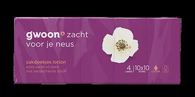 g'woon zakdoekjes lotion 4 laags 10 x 10 stuks