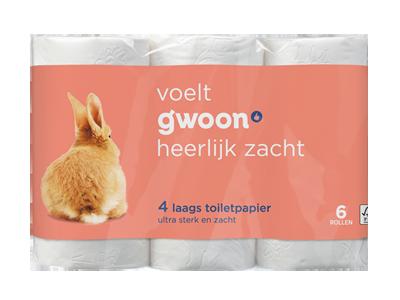g'woon toiletpapier 4 laags 6 rollen