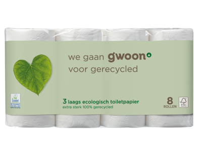 g'woon toilet­papier recycled 3 laags 8 rollen