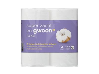 g'woon toiletpapier katoen 3 laags 4 rollen