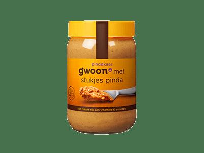 g'woon pindakaas met stukjes pinda 600 gram