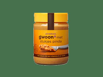 g'woon pindakaas met stukjes pinda 350 gram