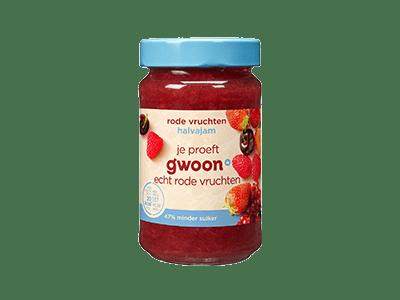 g'woon halvajam rode vruchten 320 gram