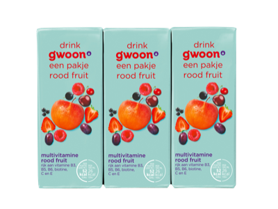 g'woon pakjes multivitamine drank rood fruit 6 x 200ml