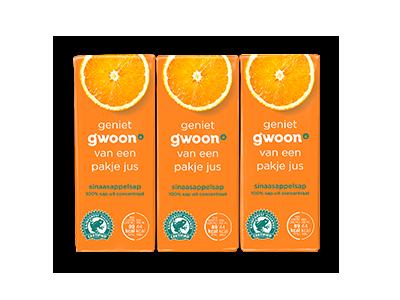g'woon sinaasappelsap pakjes 6 x 200ml