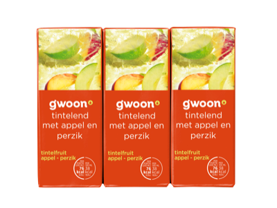 g'woon pakjes tintelfruit appel - perzik 6 x 200ml