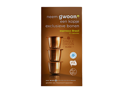 g'woon espresso capsules brasil 10 stuks