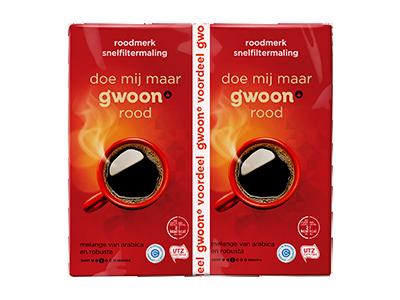 g'woon duo filterkoffie roodmerk 2x 500 gram