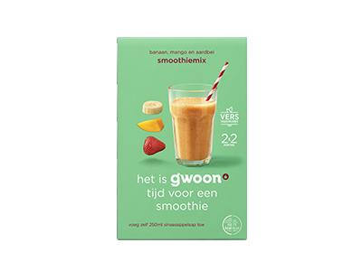 g'woon smoothiemix banaan, mango en aardbei 2x150 gram