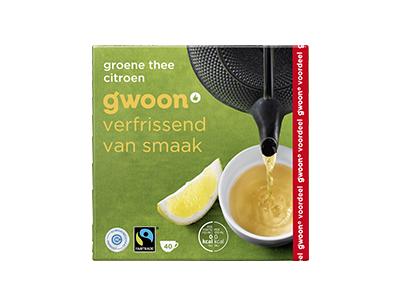 g'woon groene thee met citroen voordeelpak 40 x 2 gram