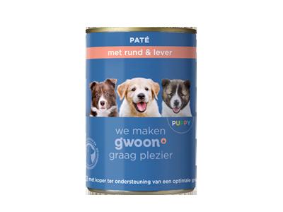 g'woon puppy - paté met rund & lever 400 gram