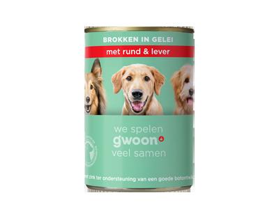 g'woon adult -  brokken in gelei met rund & lever 415 gram