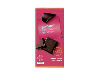 g'woon extra puur chocolade tablet 72% 100 gram