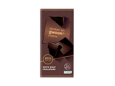 g'woon extra puur chocolade tablet 85% 100 gram