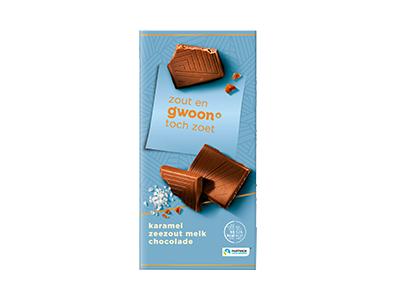 g'woon karamel zeezout melk chocolade tablet