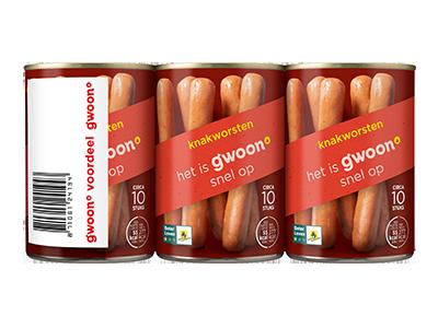 g'woon knakworsten 3-pack 3 x 400 gram