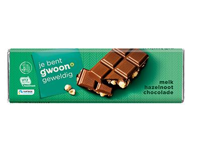 g'woon melk hazelnoot chocolade reep groot 180 gram