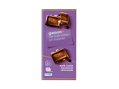g'woon melk rozijn hazelnoot chocolade tablet 200 gram