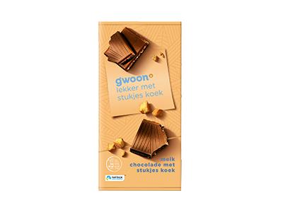 g'woon melk chocolade met stukjes koek tablet 100 gram