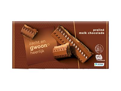g'woon praliné melk chocolade tablet 200 gram