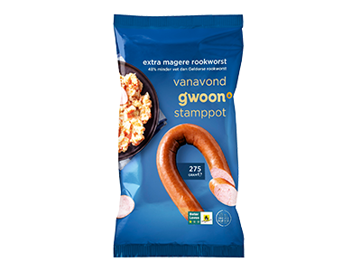 g'woon extra magere rookworst 275 gram