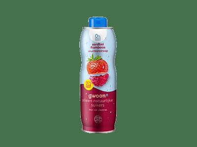 g'woon aardbei framboos vruchtensiroop 0% suiker toegevoegd 750 ml