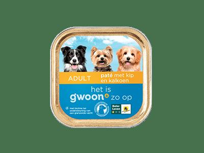 g'woon paté met kip en kalkoen adult 150 gram