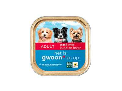g'woon paté met rund en lever adult 150 gram