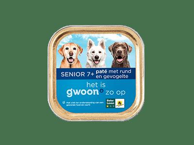 g'woon paté met rund en gevogelte senior 7+ 150 gram