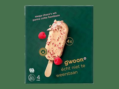 g'woon mega choco's wit panna cotta framboos 4 stuks