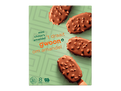 g'woon mini choco's amandel 8 stuks