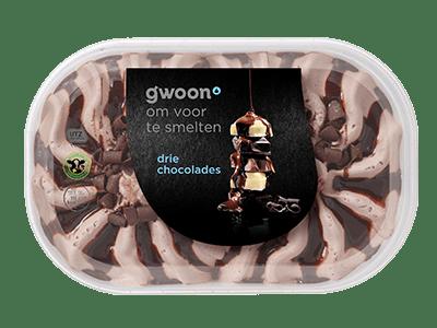 g'woon drie chocolades ijs 900 ml