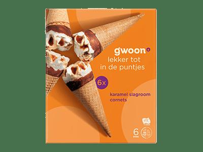 g'woon karamel slagroom cornets 6 stuks