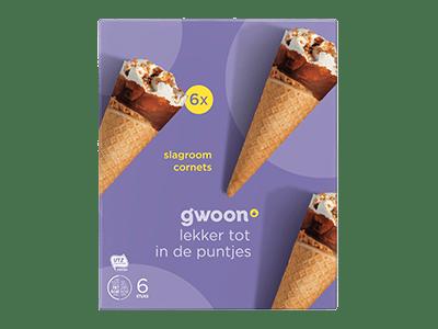 g'woon slagroom cornets 6 stuks