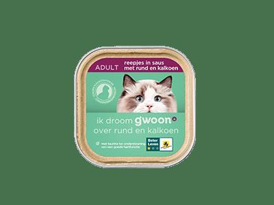 g'woon reepjes in saus met rund en kalkoen adult 85 gram