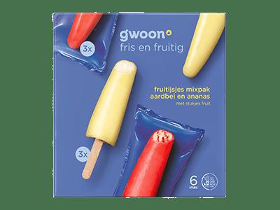 g'woon fruitijsjes mixpak aardbei en ananas 6 stuks