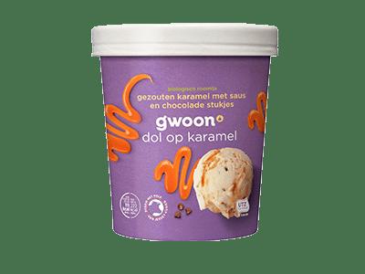g'woon biologisch roomijs gezouten karamel met saus en chocolade stukjes 500 ml