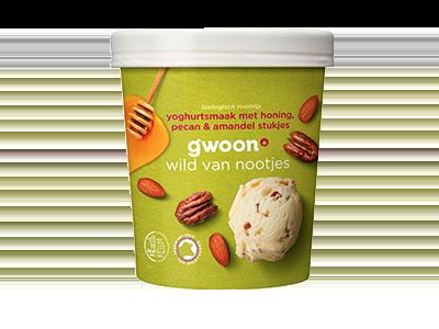 g'woon biologisch roomijs yoghurtsmaak met honing, pecan & amandel stukjes 500 ml