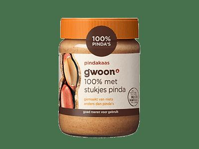 g'woon 100% pindakaas met stukjes pinda 350 gram
