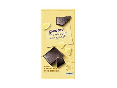 g'woon puur chocolade met citroen tablet 100 gram