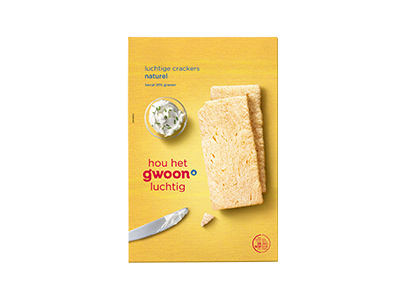g'woon luchtige crackers naturel 250 gram