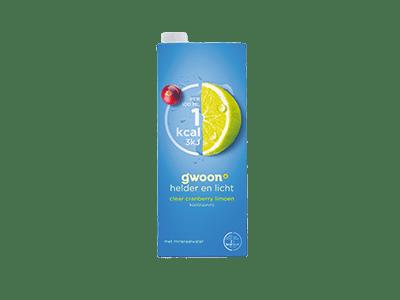 g'woon clear cranberry limoen 1,5 liter