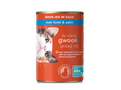 g'woon adult - brokjes in saus met forel en zalm 415 gram