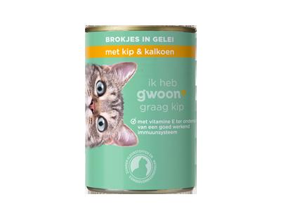 g'woon adult - brokjes in gelei met kip en kalkoen 405 gram