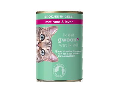 g'woon adult - brokjes in gelei met rund en lever 405 gram