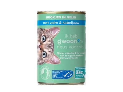 g'woon adult - brokjes in gelei met zalm en kabeljauw 405 gram