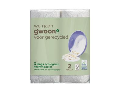 g'woon keukenpapier ecologisch 3 laags 2 rollen